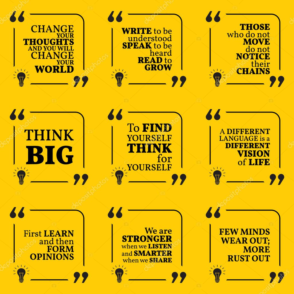 Set Of Motivational Quotes About Learning Thinking Optimism F