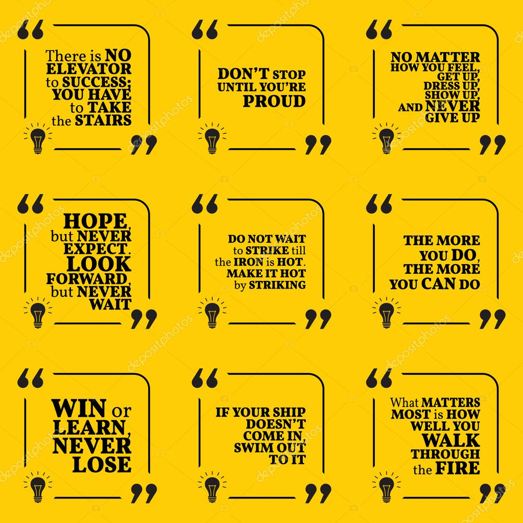 Set Of Motivational Quotes About Hope Action Hard Work Achiev
