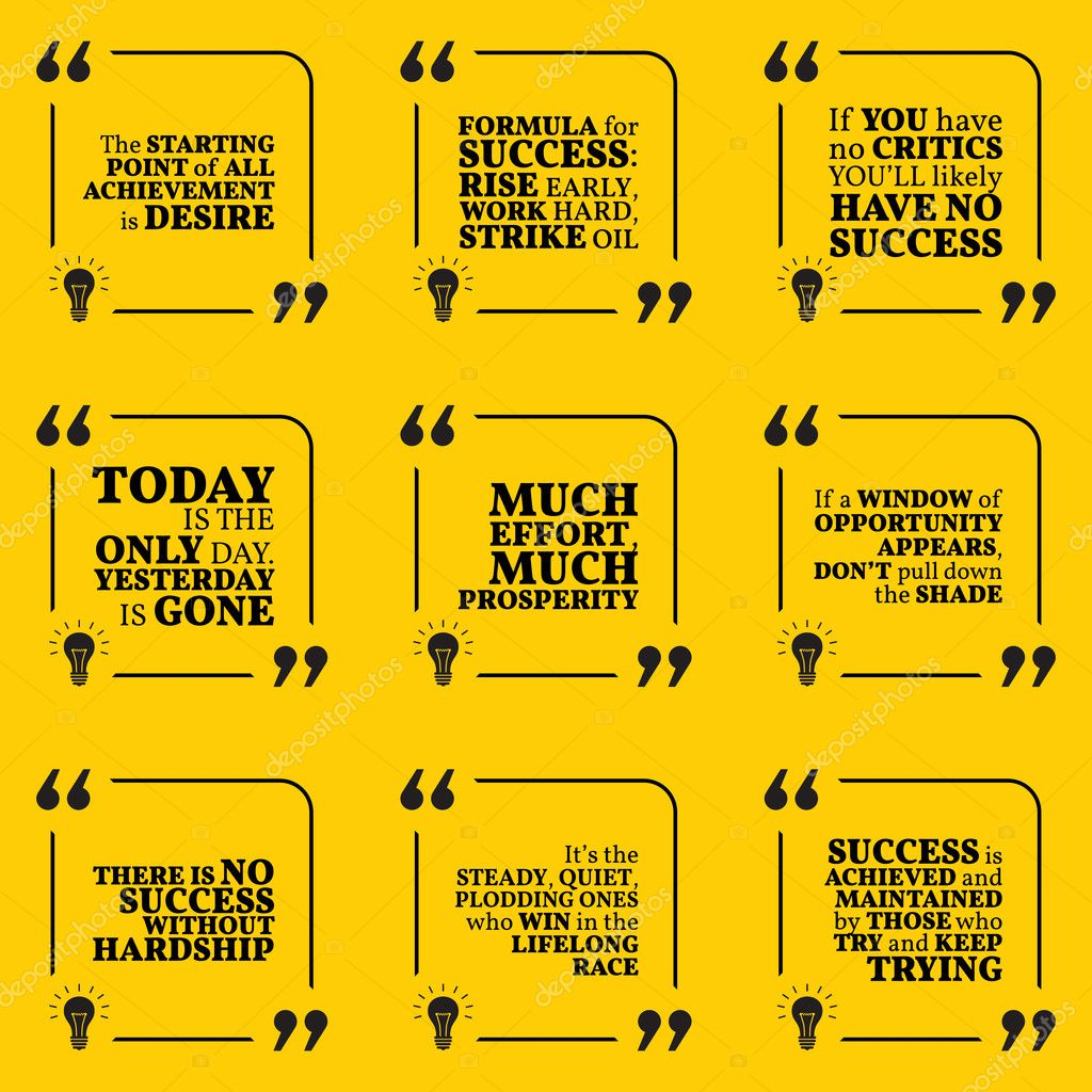 Set Of Motivational Quotes About Action Hard Work Goals Achie