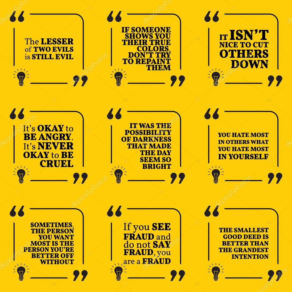 set of motivational warning quotes about evil, darkness, hate, fset of motivational warning quotes about evil, darkness, hate, f \u2014 stock vector