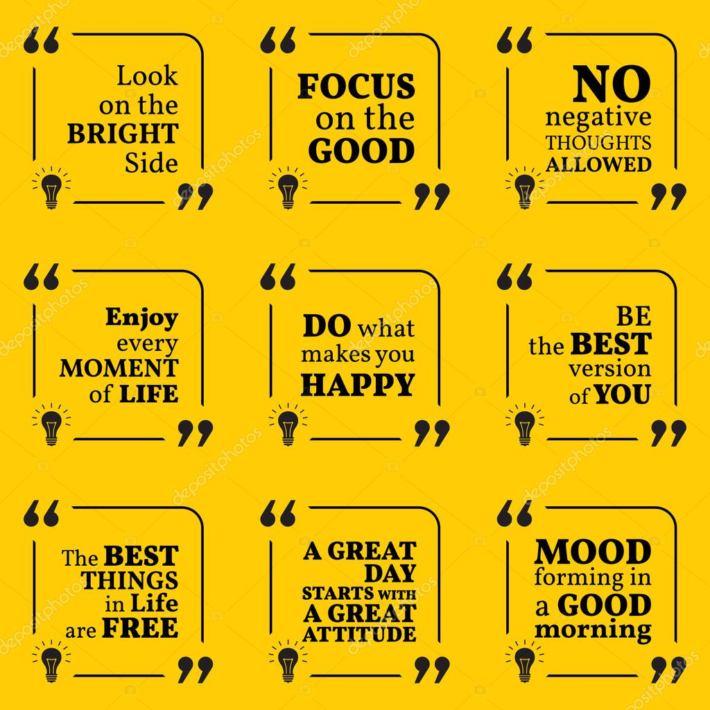 Set Of Motivational Quotes About Positive Thinking Optimism Ha