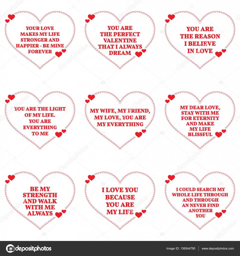 Zestaw Miłości życzenia Cytaty Na Białym Tle Proste Serce Sh