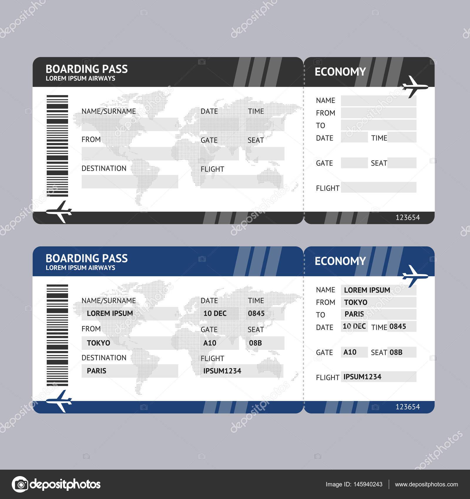 Boleto de línea aérea de embarque. Vector de — Vector de stock ...