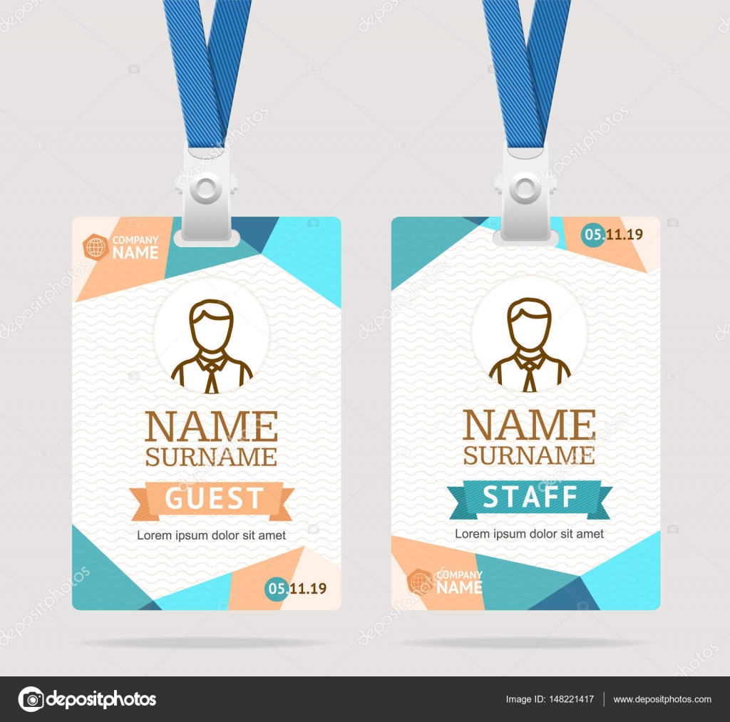 Id Card Template Plastic Badge Vector Stock Vector