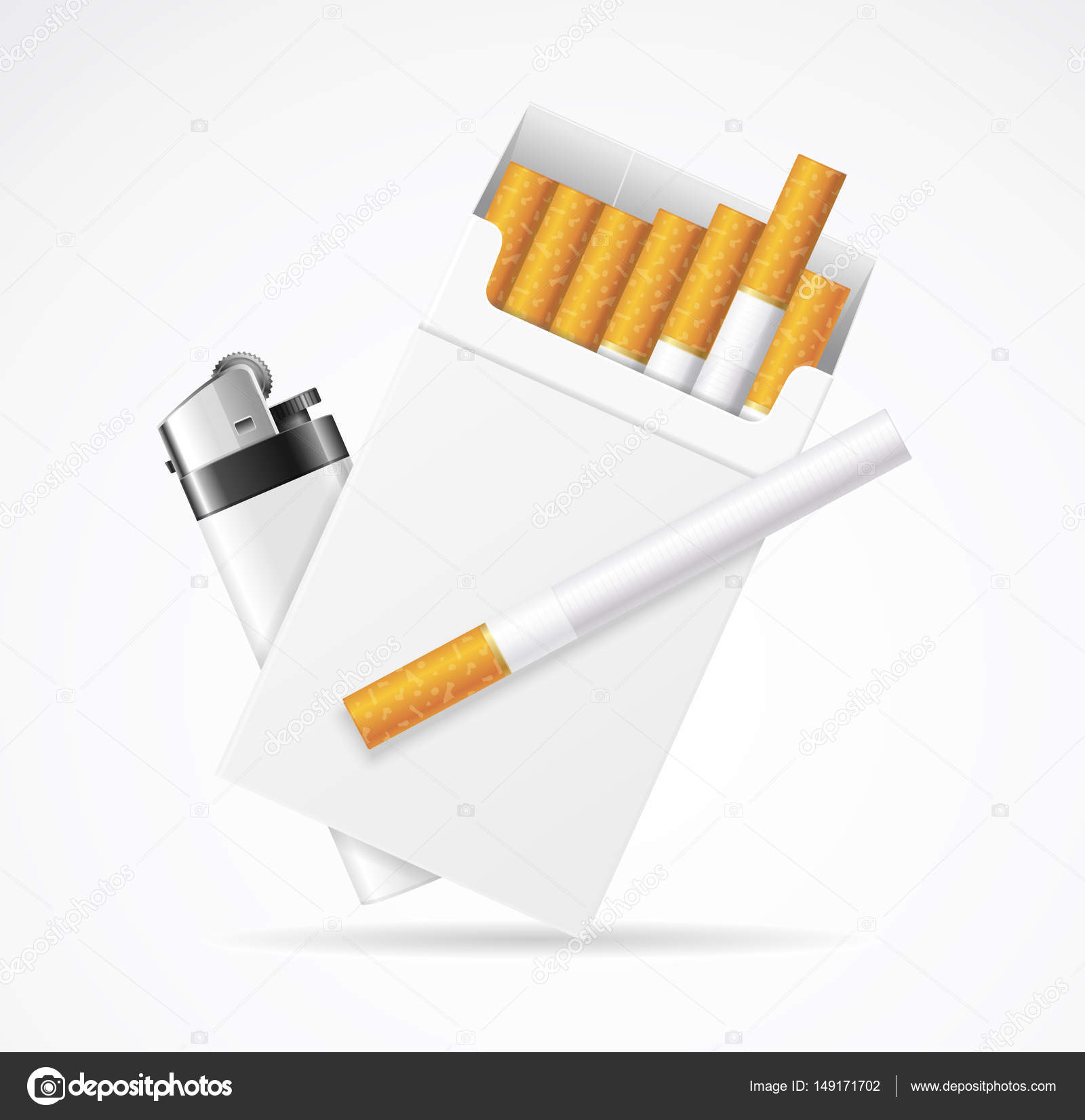 realistic template blank white cigarette pack with pocket lighter