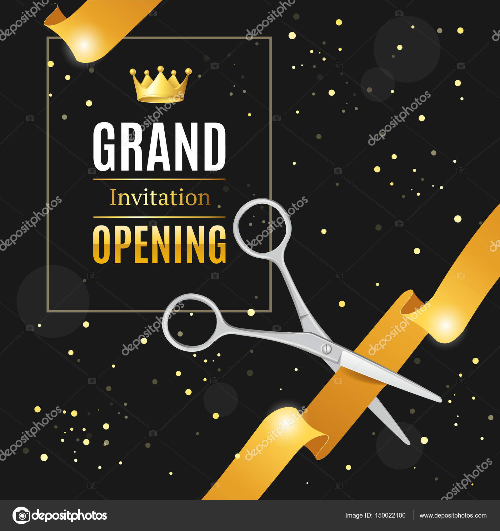 Vector Grand Opening Invitation Card Template Grand
