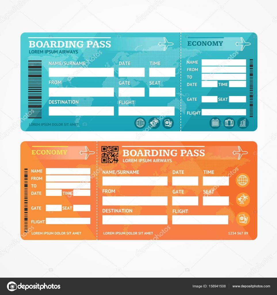 Boarding Pass Tickets Flugzeug Set. Vektor — Stockvektor © mouse_md ...