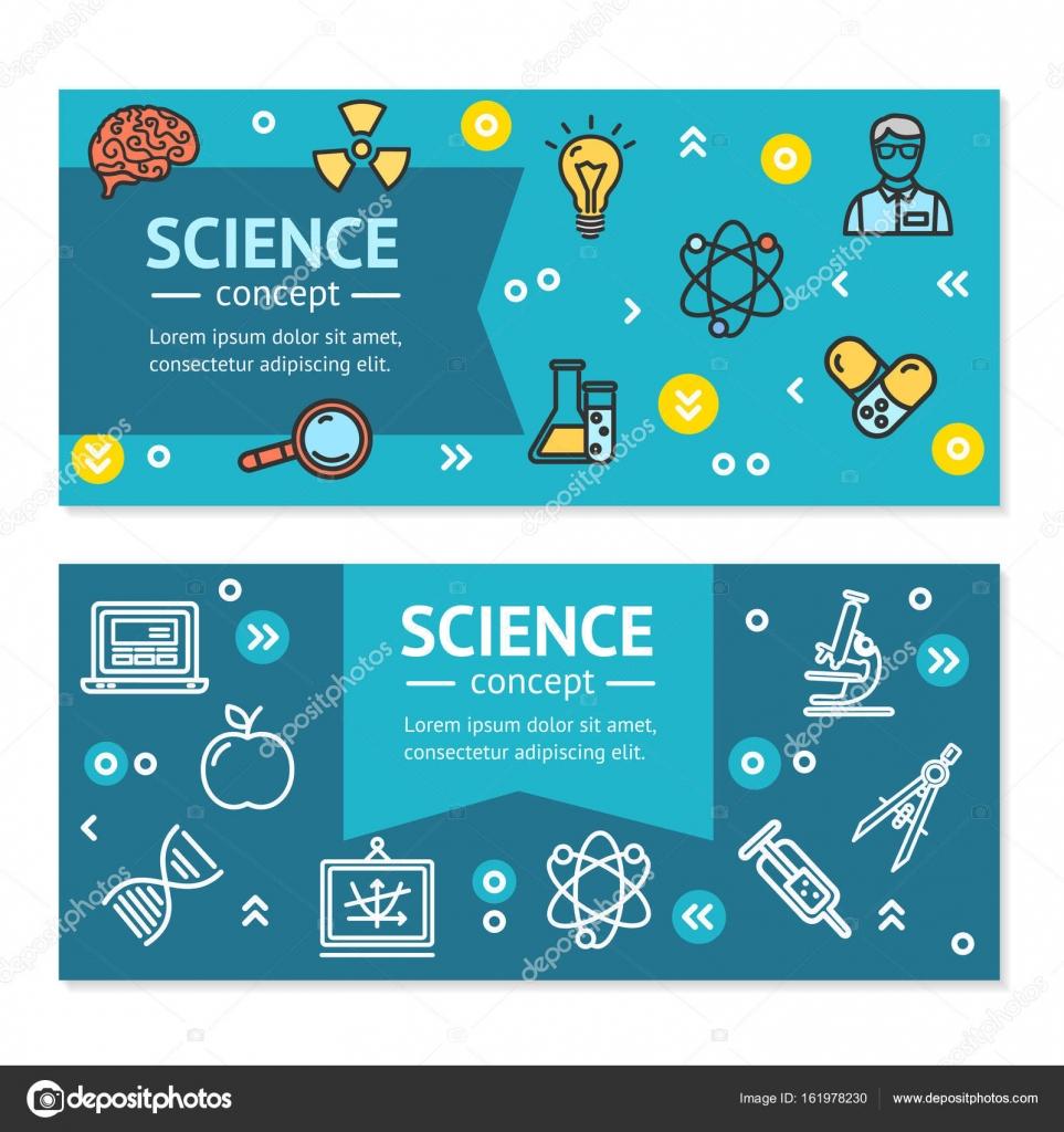 Vector ciencia investigación carteles Banners horizontales Tarjeta ...