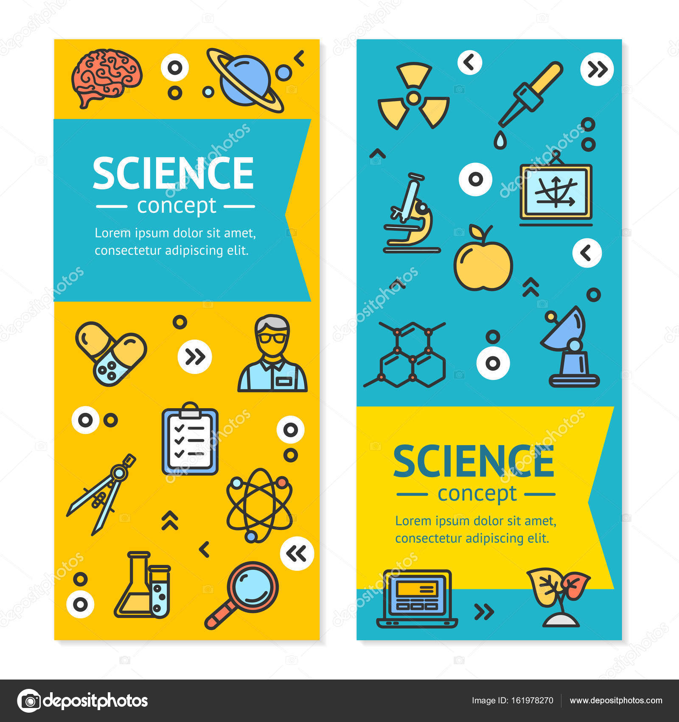 Vector ciencia investigación carteles Banners Vertical Tarjeta ...
