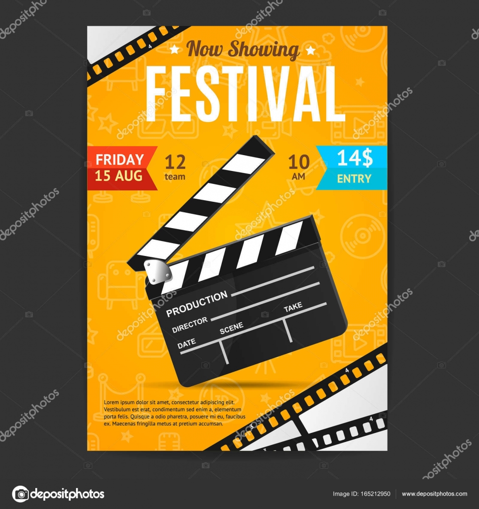 Cinema movie festival poster card template vector stock vector cinema movie festival poster card template with realistic clapper board for ad invitation presentation vector illustration of film card vector by stopboris Image collections