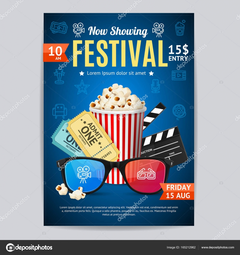 Cinema Movie Festival Poster Card Template Include Of Popcorn Ticket And Clapper Vector Illustration Premiere Film Invitation By Mouse Md