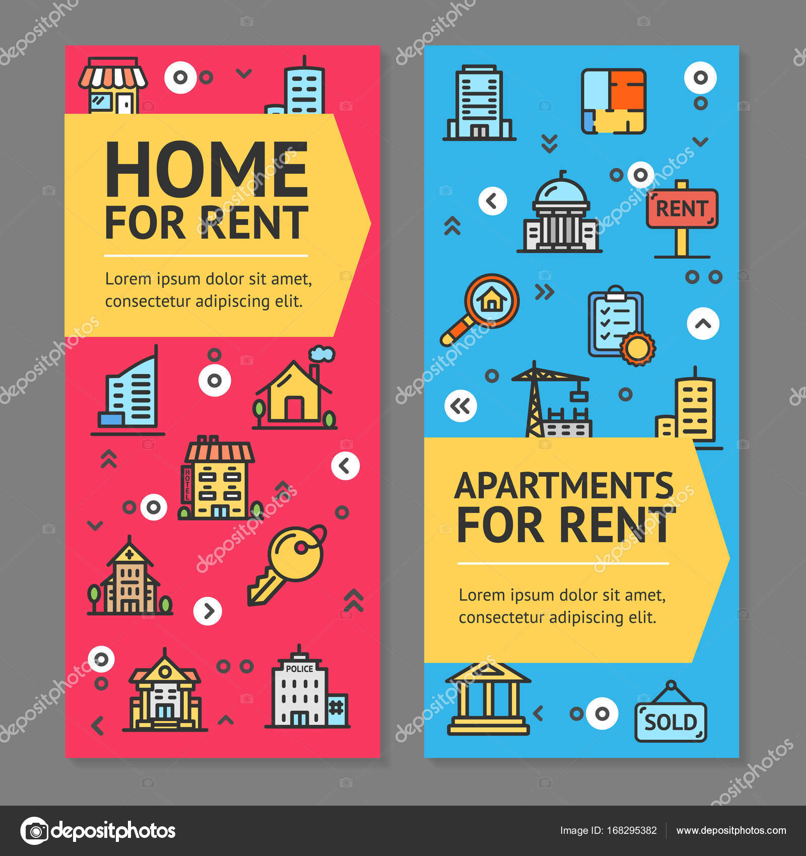 Building House Or Home And Apartment For Rent Flyer Banner Posters Card Set  Elements Architecture For Web And App Design. Vector Illustration Of Two  Banners ...