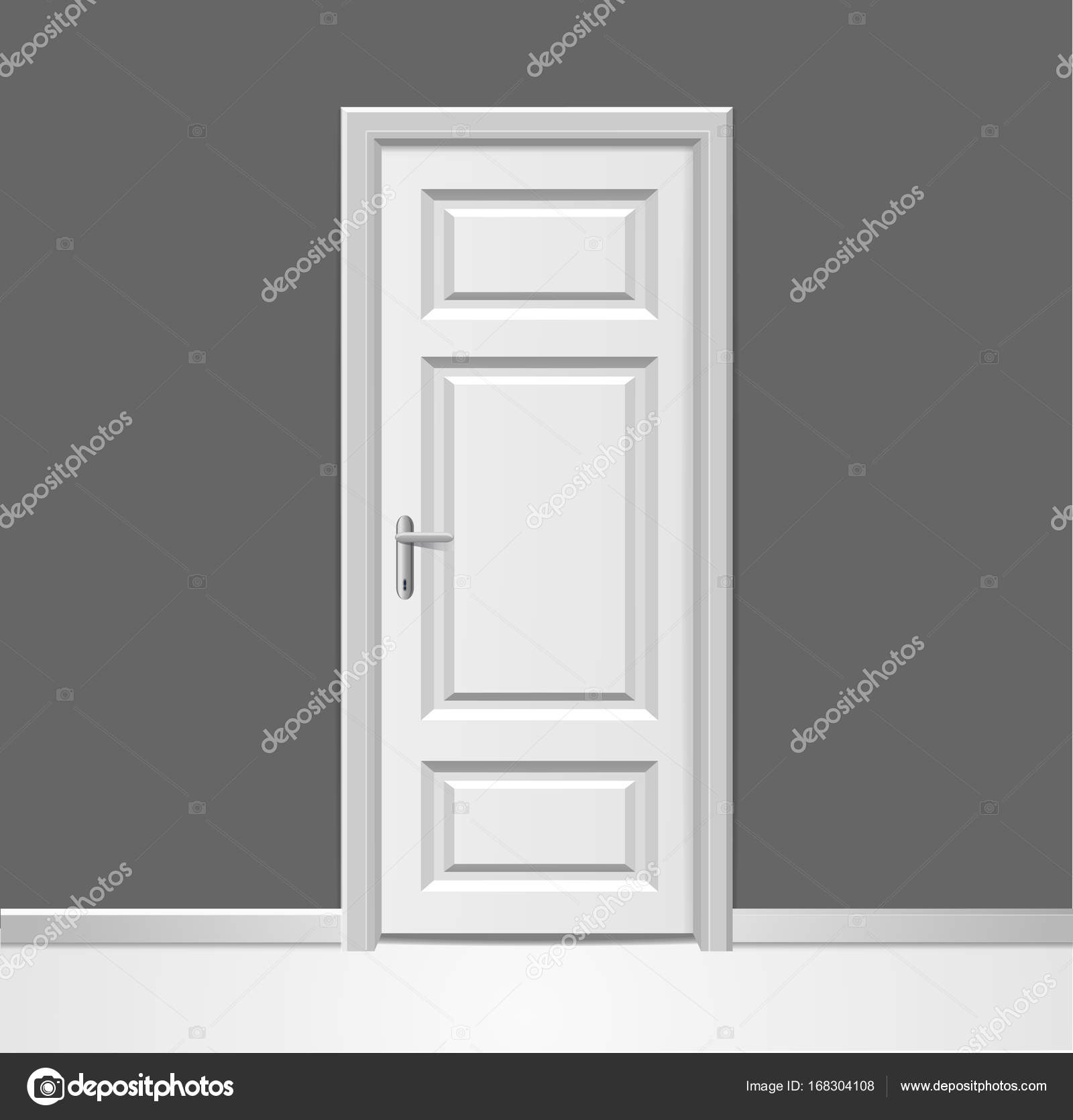 Realistische 3d geschlossene weiße Holztür mit Rahmen, Wand ...