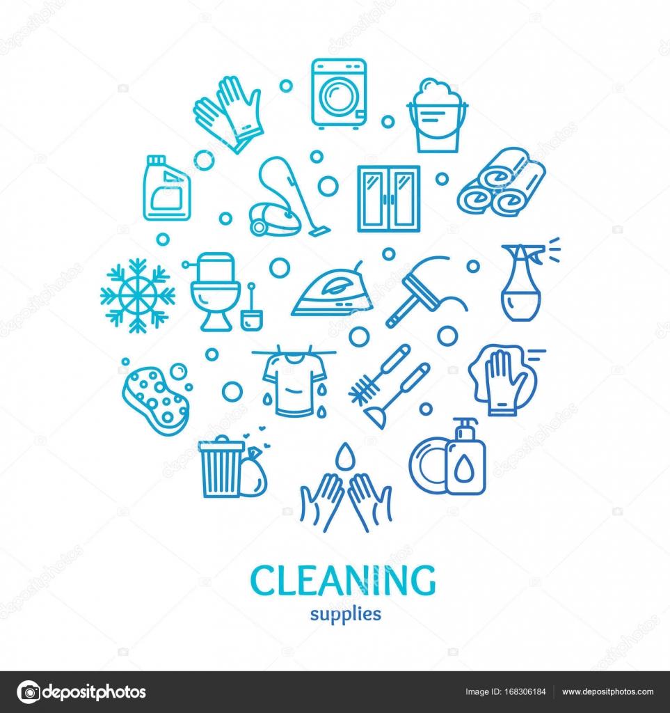 Haushalt und Reinigung Werkzeuge Farbe Runde Design Vorlage ...