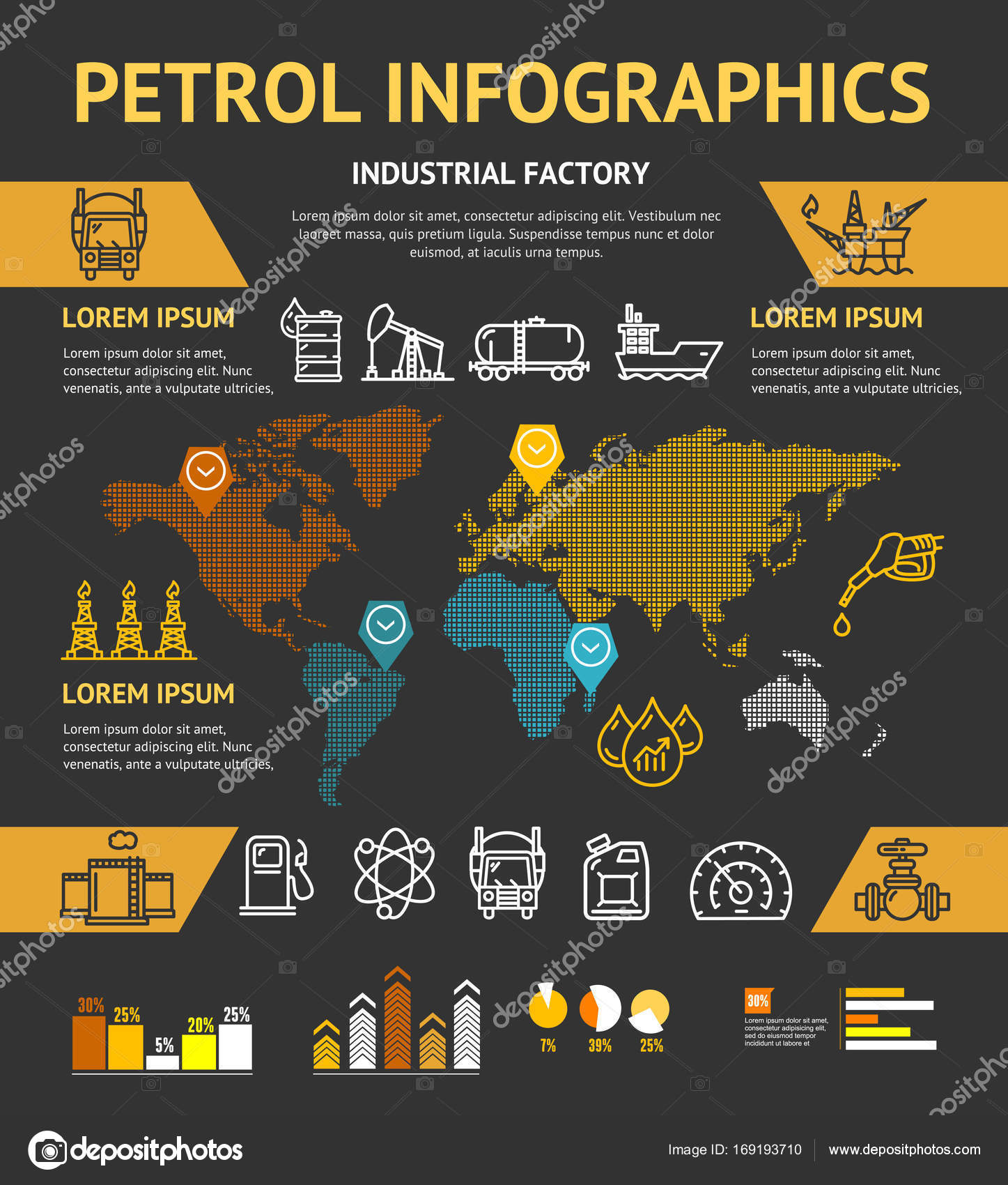 Petrol Oil Industry Business Infographic Concept. Vector — Stock ...
