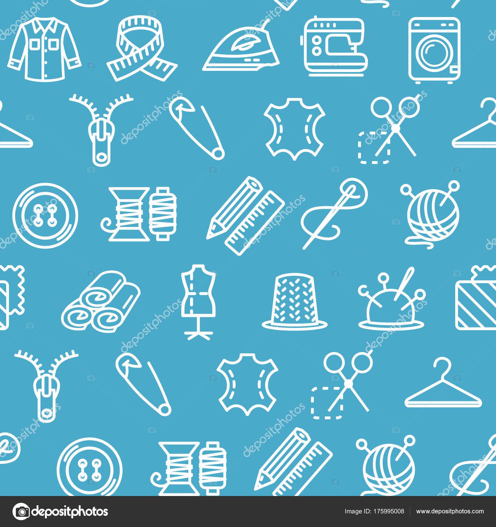 Nähen und Handarbeiten Werkzeug Muster Hintergrund auf einem blau ...