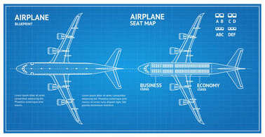 Airplane Blueprint Plan Top View. Vector