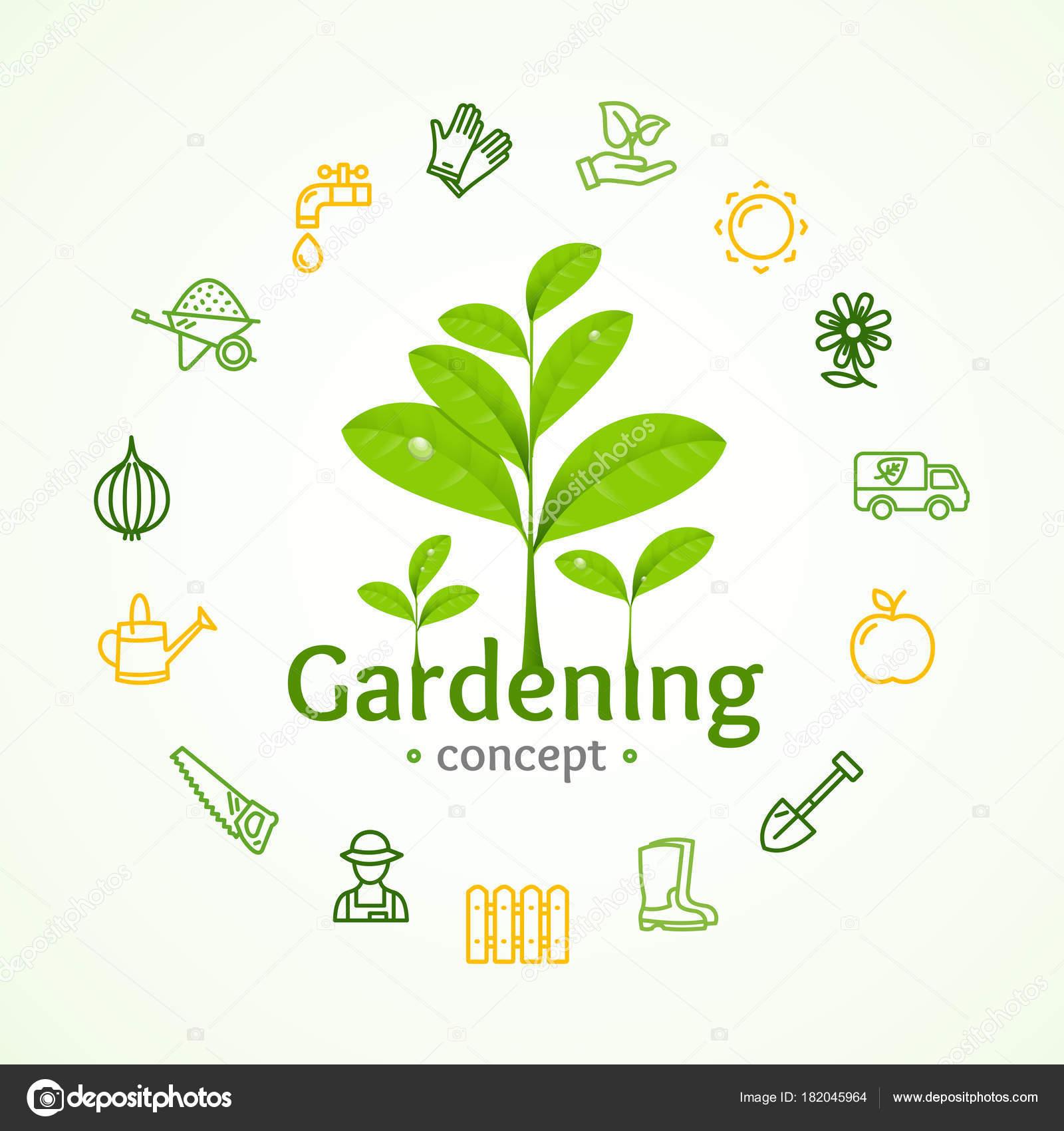 Gartenarbeit Zeichen Runde Design Vorlage Linienkonzept Symbol ...