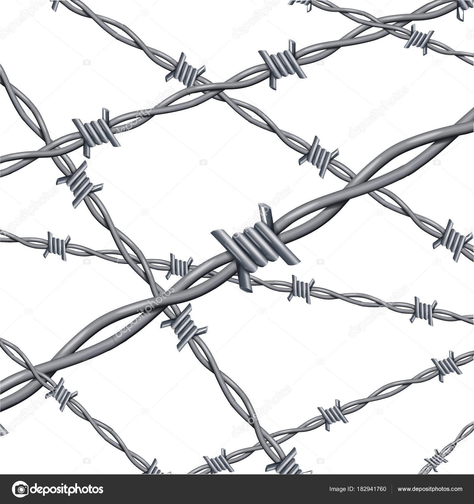 Realistic d detailed barbed wire line background card