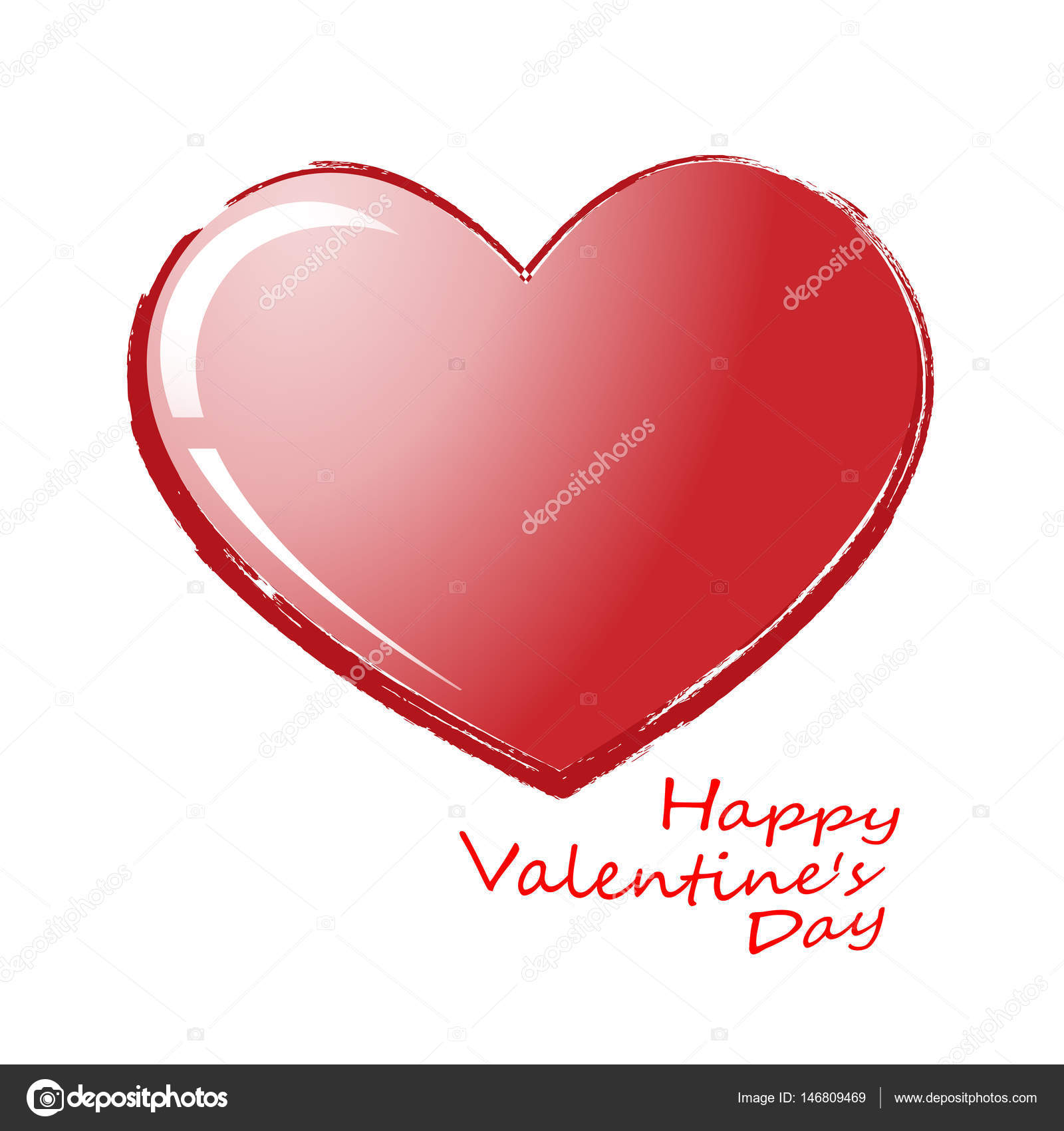 Big Red Heart Isolated On Transparent Background. Realistic Romantic ...