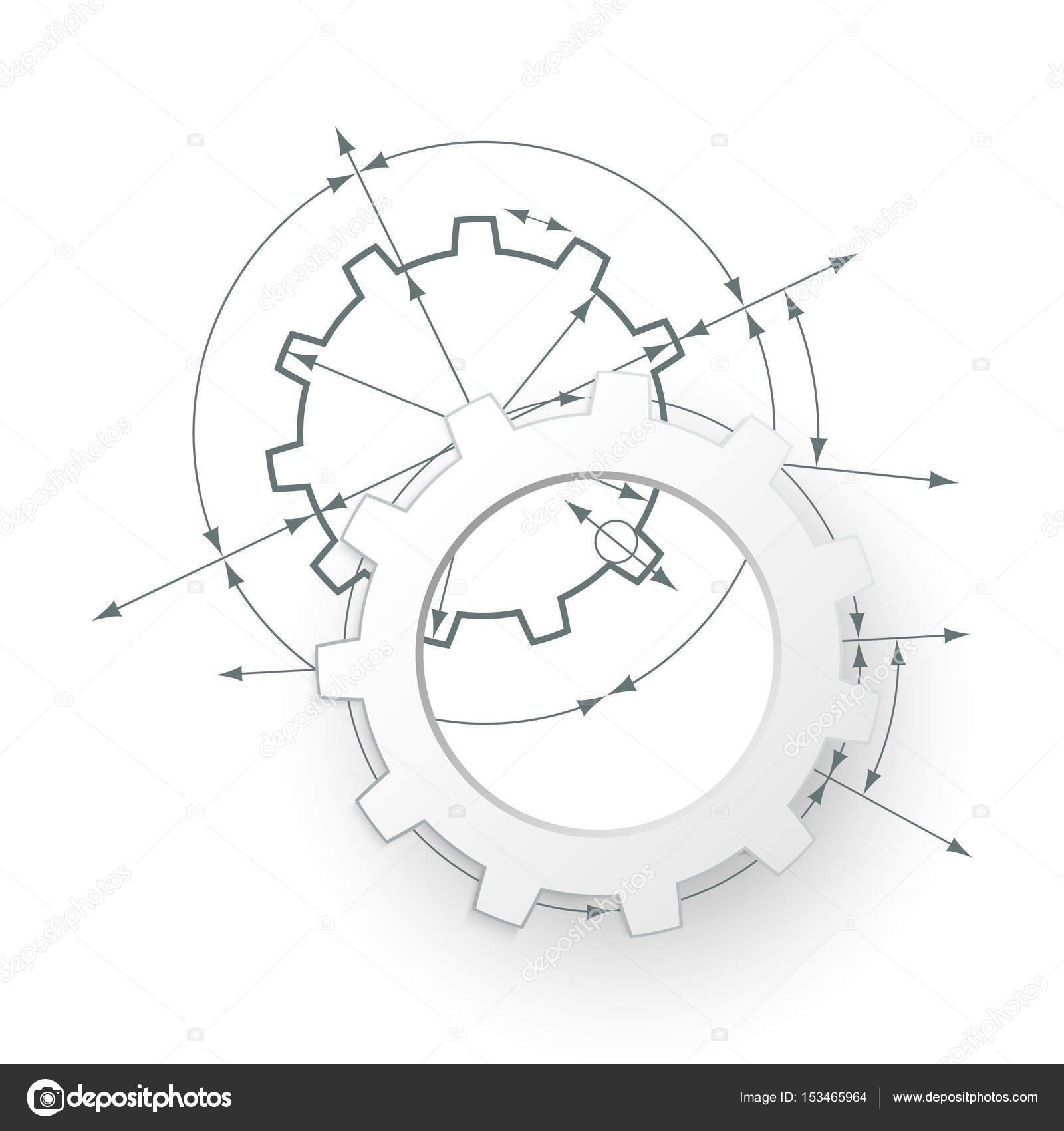 Prevodovka V Angazma Technicky Vykres Prumyslove Pozadi Abstraktni