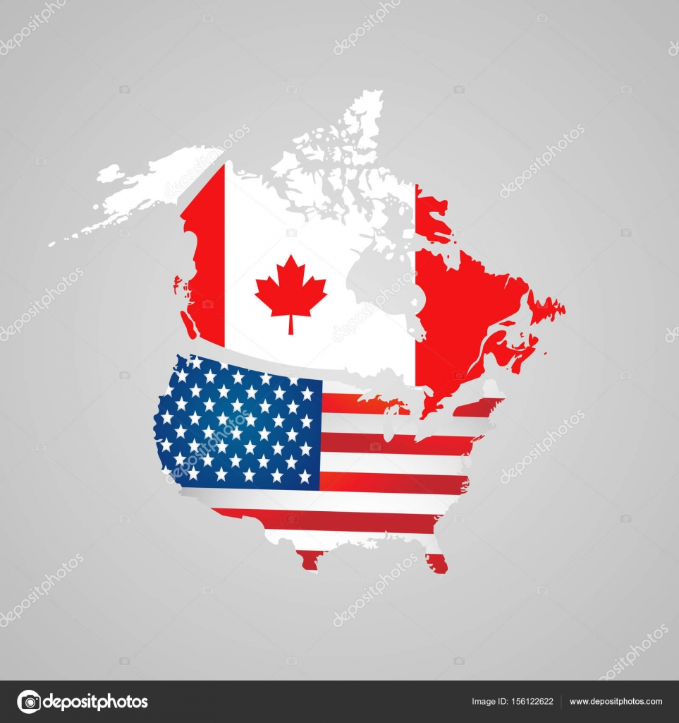 North American Country Set With Map Pointers Canada Usa Map Flags