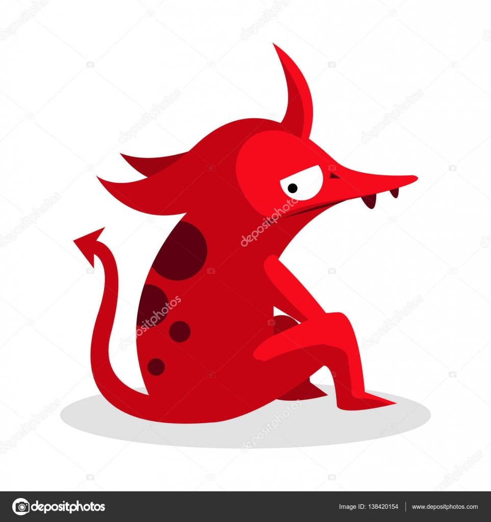 赤いモンスター イラスト デザイン ストックベクター
