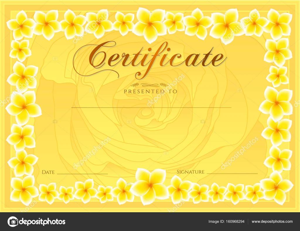 Zertifikat, Abschlusszeugnis (Rose-Design-Vorlage, Blume Hintergrund ...