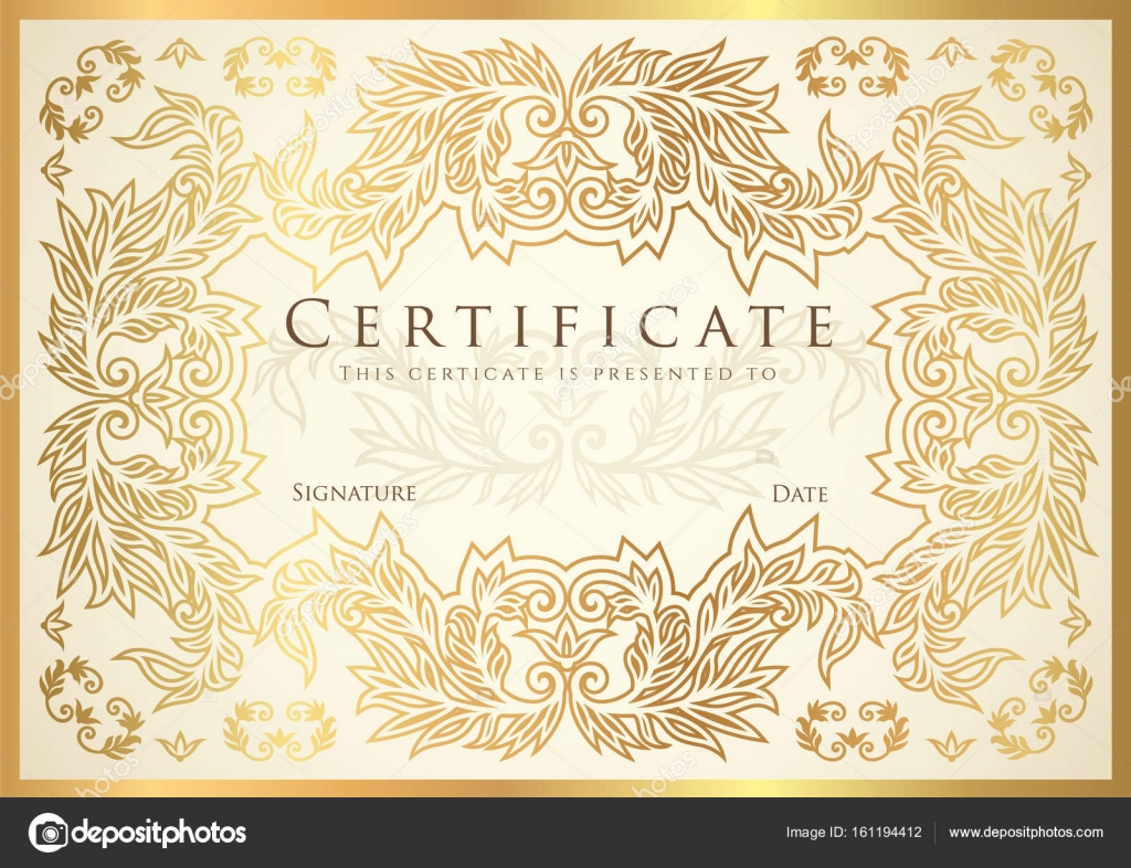 Certificate diploma of completion golden design template white certificate diploma of completion golden design template white background with floral filigree pattern scroll border frame yadclub Image collections