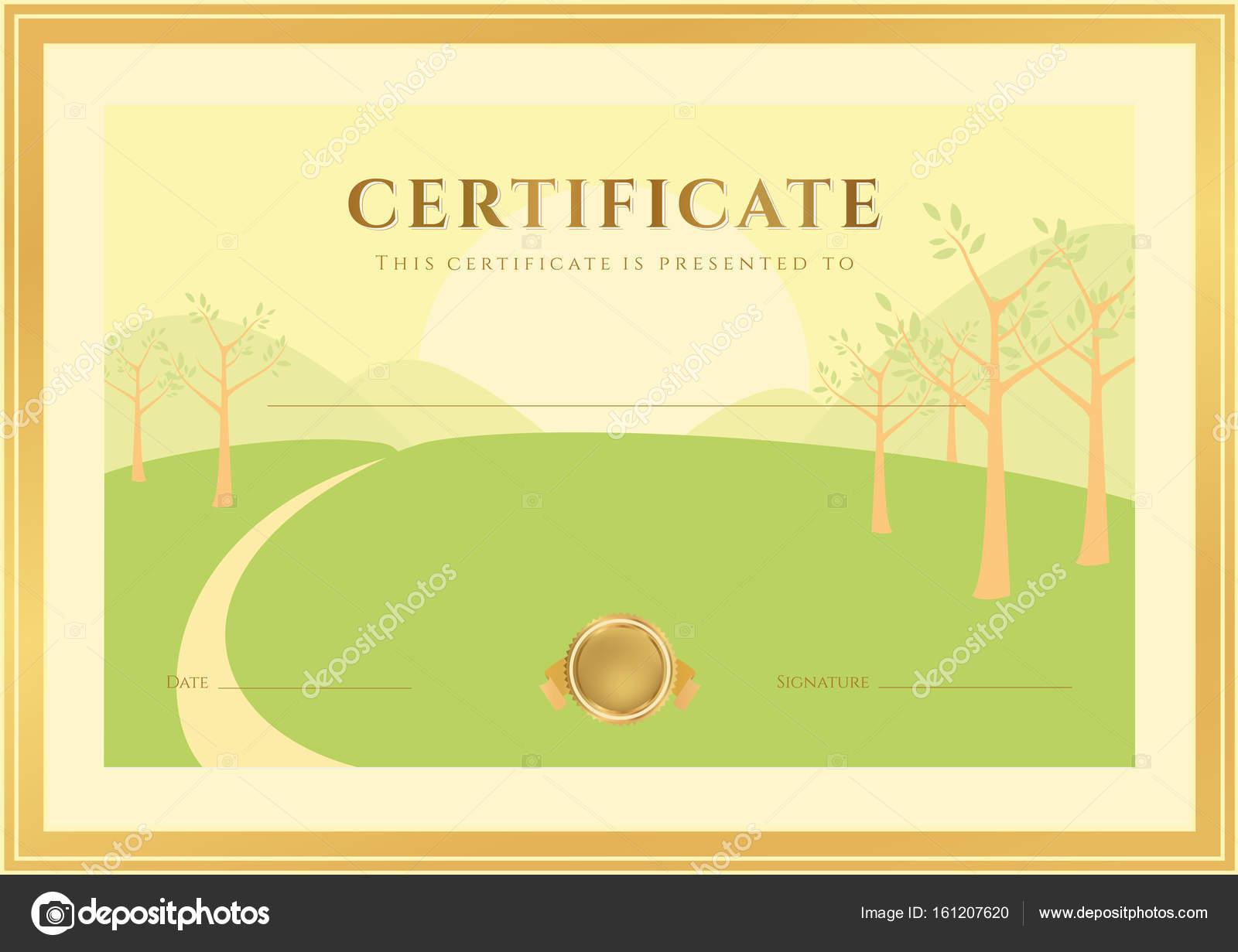 Horizontale Abschlusszertifikat (Vorlage) mit Wald-Hintergrund (für ...