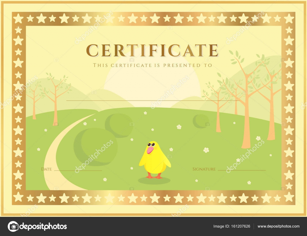 Horizontal certificate of completion template with forest horizontal certificate of completion template with forest background for children background usable for diploma invitation gift voucher or different yelopaper Choice Image
