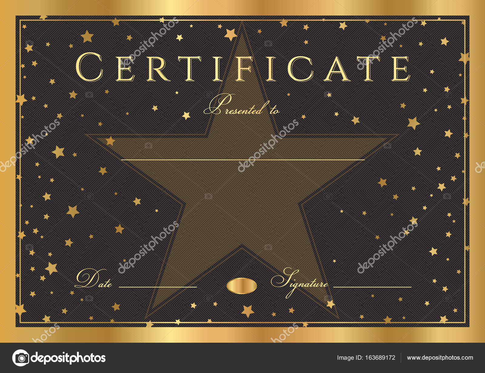 Certificate Diploma Of Completion Abstract Design Template Black