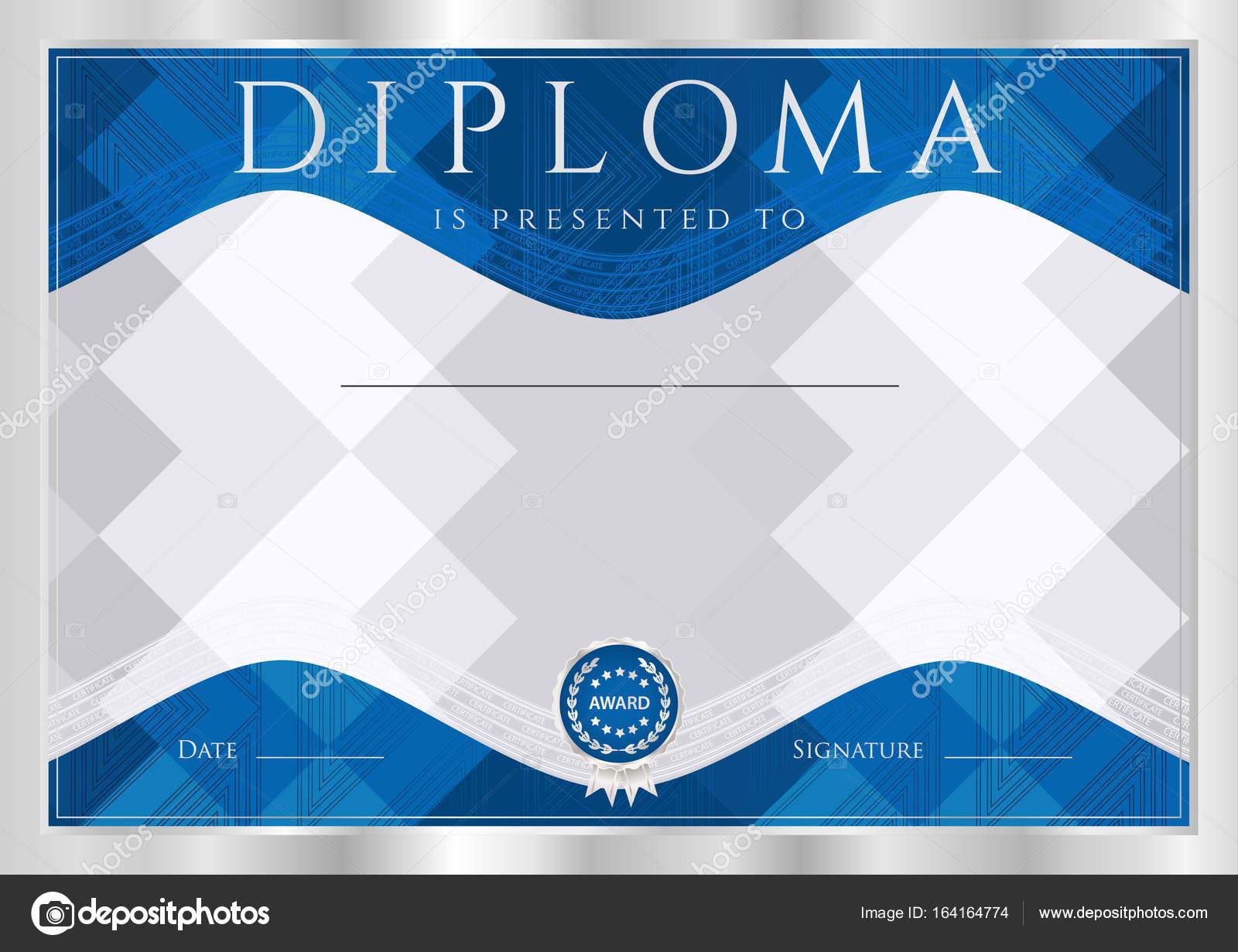 Diplom, Bescheinigung über den Abschluss (abstrakte Design-Vorlage ...