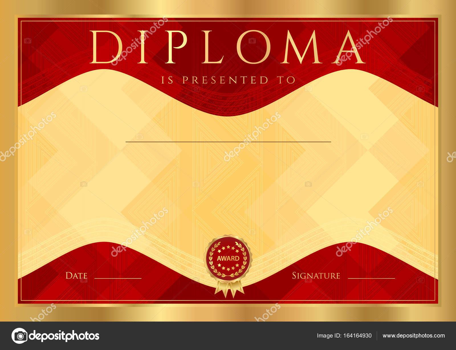 Diploma, certificado de finalización (plantilla de diseño abstracta ...