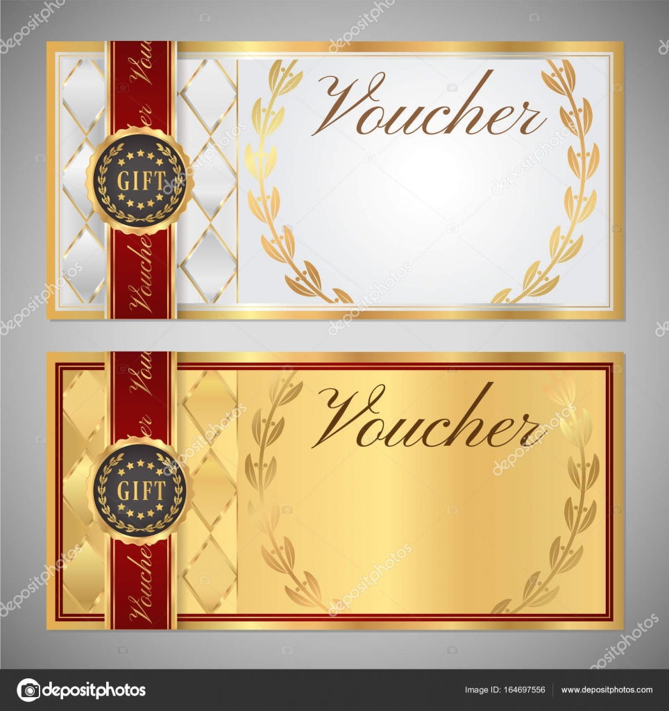gift certificate voucher coupon template white and red background