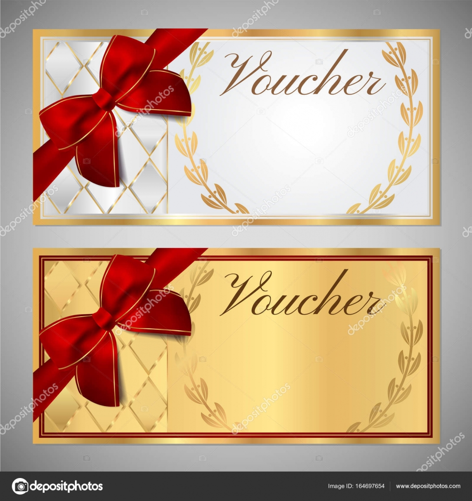 Voucher Gift Certificate Coupon Template White And Gold