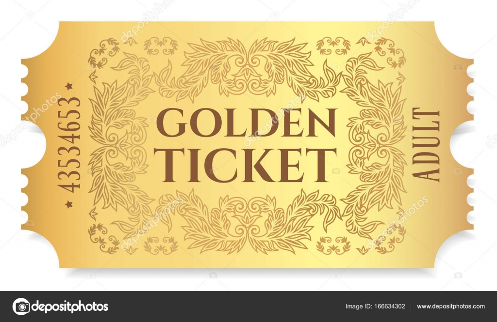 gold ticket golden token tearoff ticket coupon
