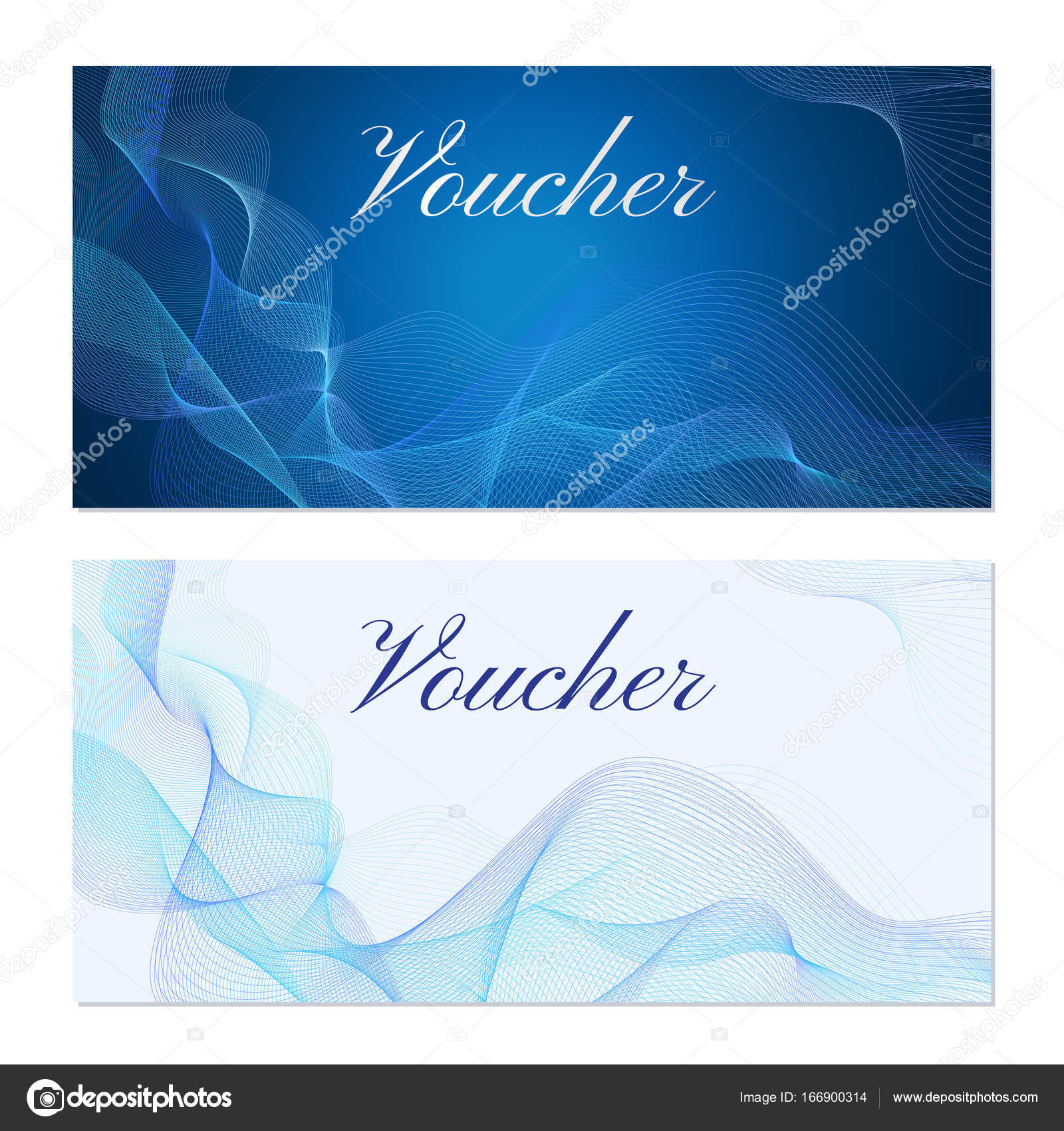 PrintVoucher, Gift Certificate, Coupon Template. Guilloche Pattern  (watermark, Blue Lines)  Coupon Template Download