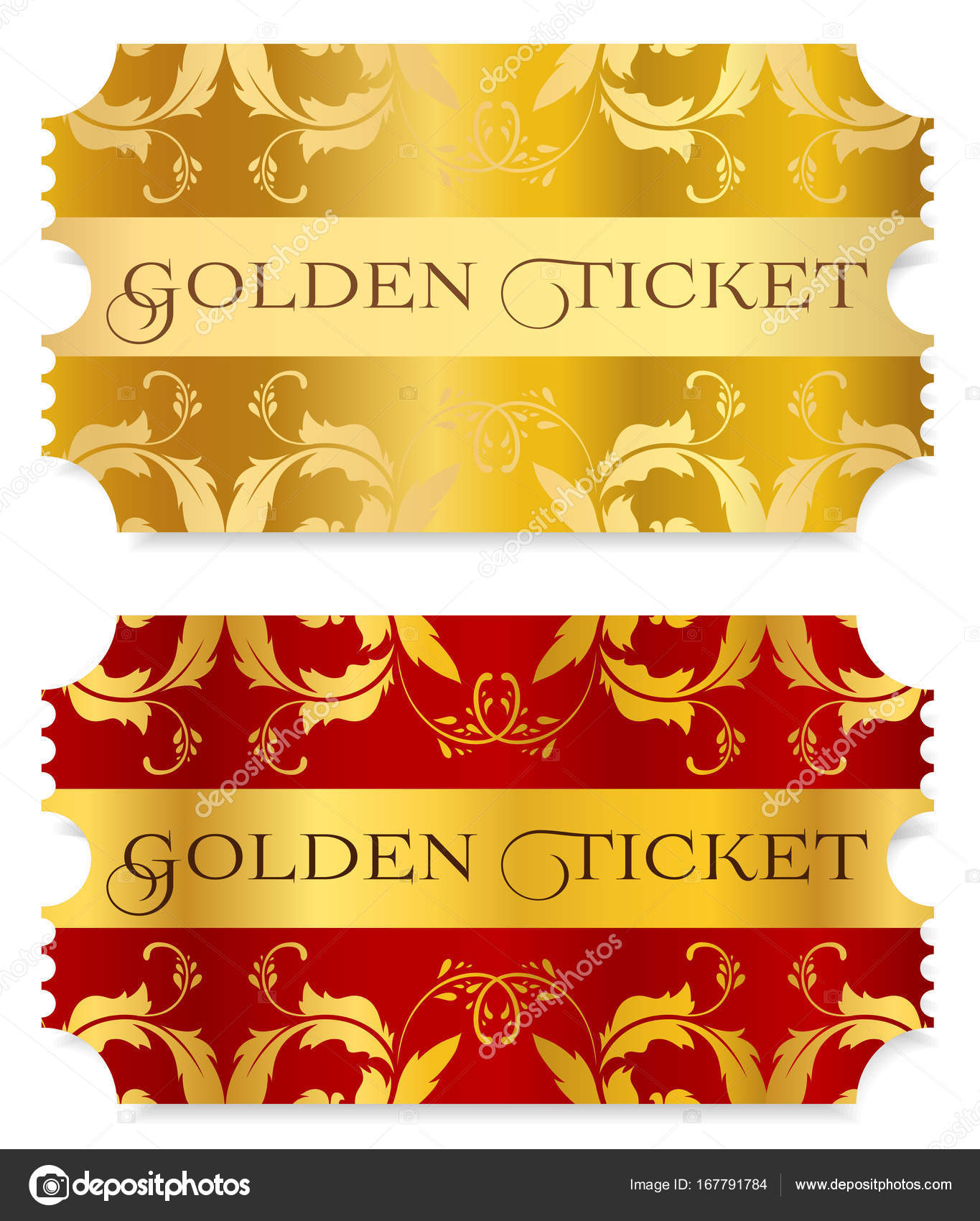gold ticket golden token tear off ticket coupon isolated on