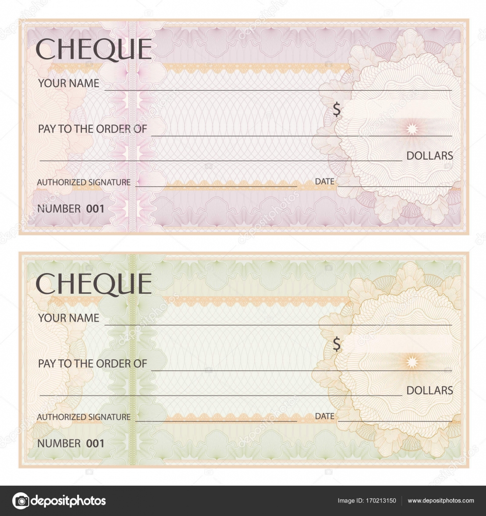 Check cheque chequebook template guilloche pattern with check cheque chequebook template guilloche pattern with watermark spirograph background for banknote money design currency bank note voucher pronofoot35fo Gallery