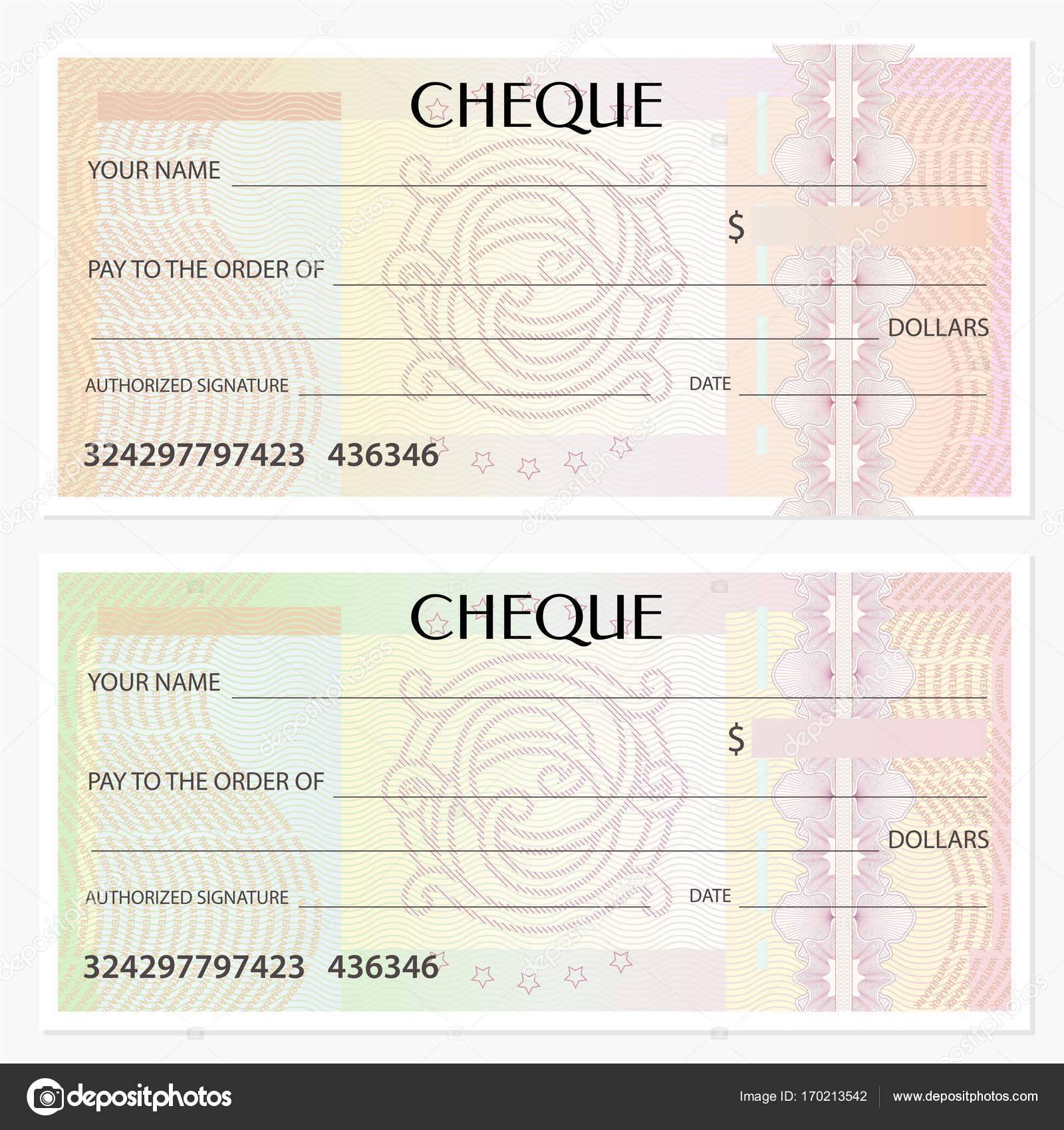 Check (cheque), Chequebook Template. Guilloche Pattern With Watermark,  Spirograph. Background For Banknote, Money Design, Currency, Bank Note,  Voucher, ...  Check Voucher Template