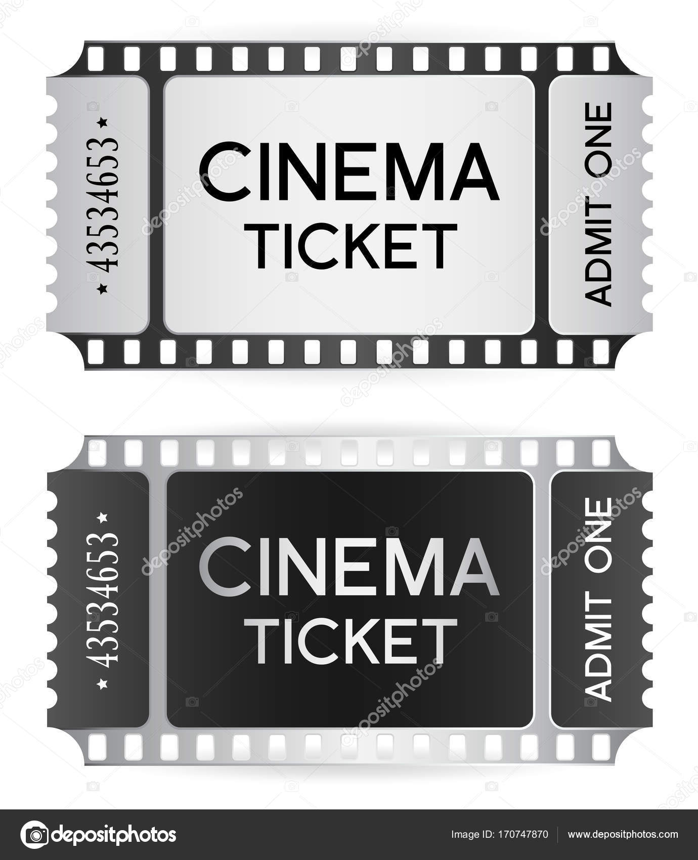 Cinema Ticket, token template (tear-off ticket film strip) isolated ...