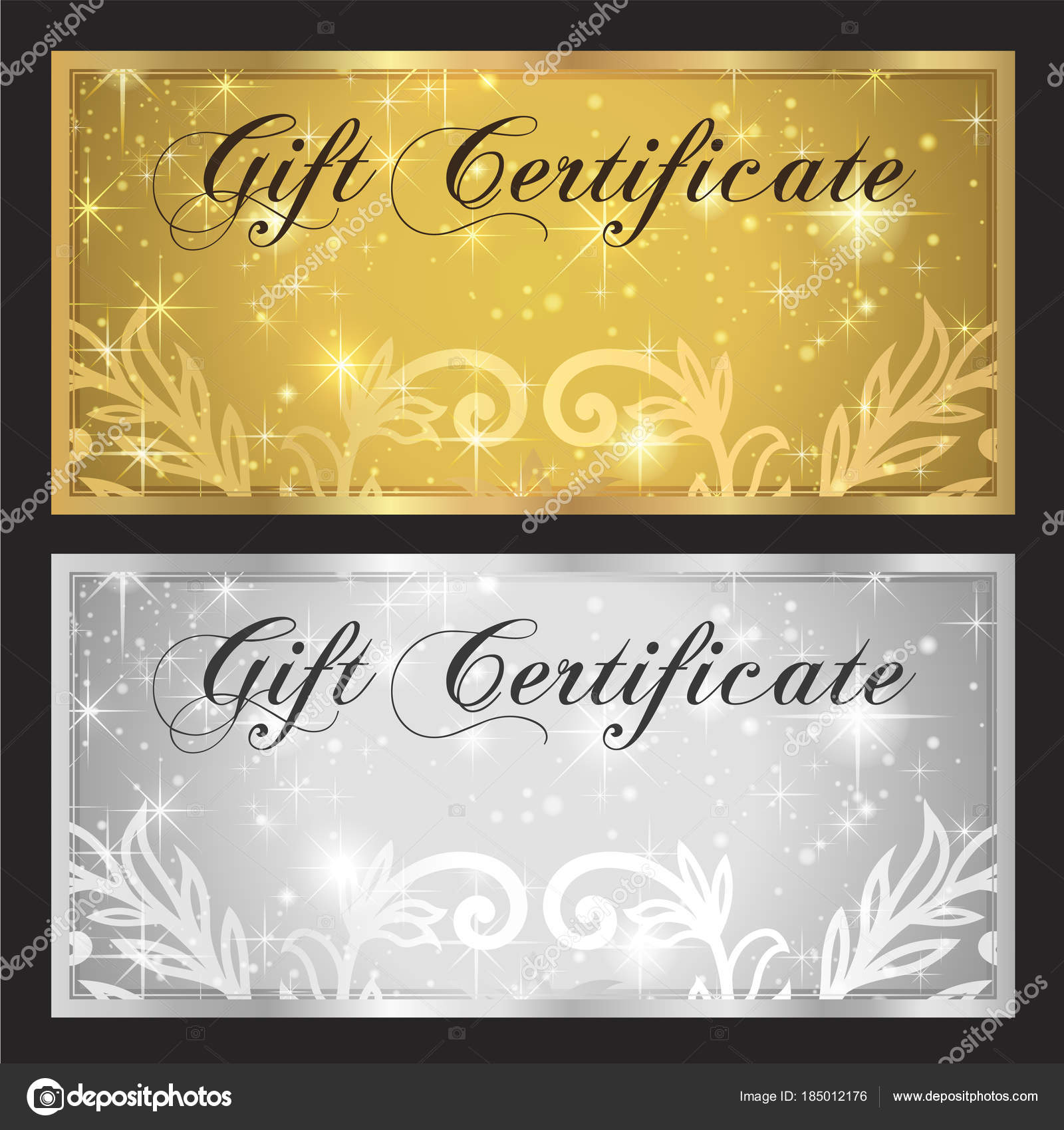 Voucher Gift Certificate Coupon Template White Gold Background Design Stars  U2014 Stock Vector