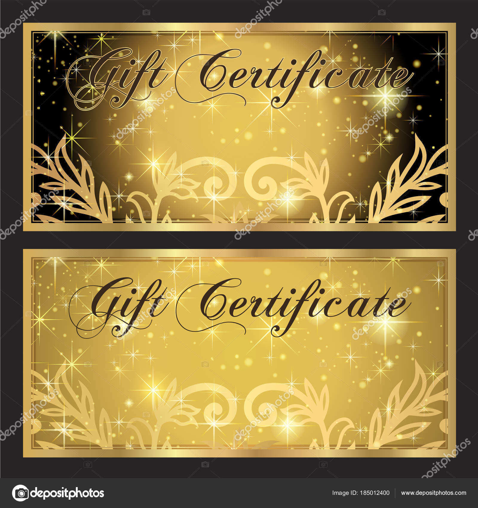 Voucher Gift Certificate Coupon Template Gold Black Background