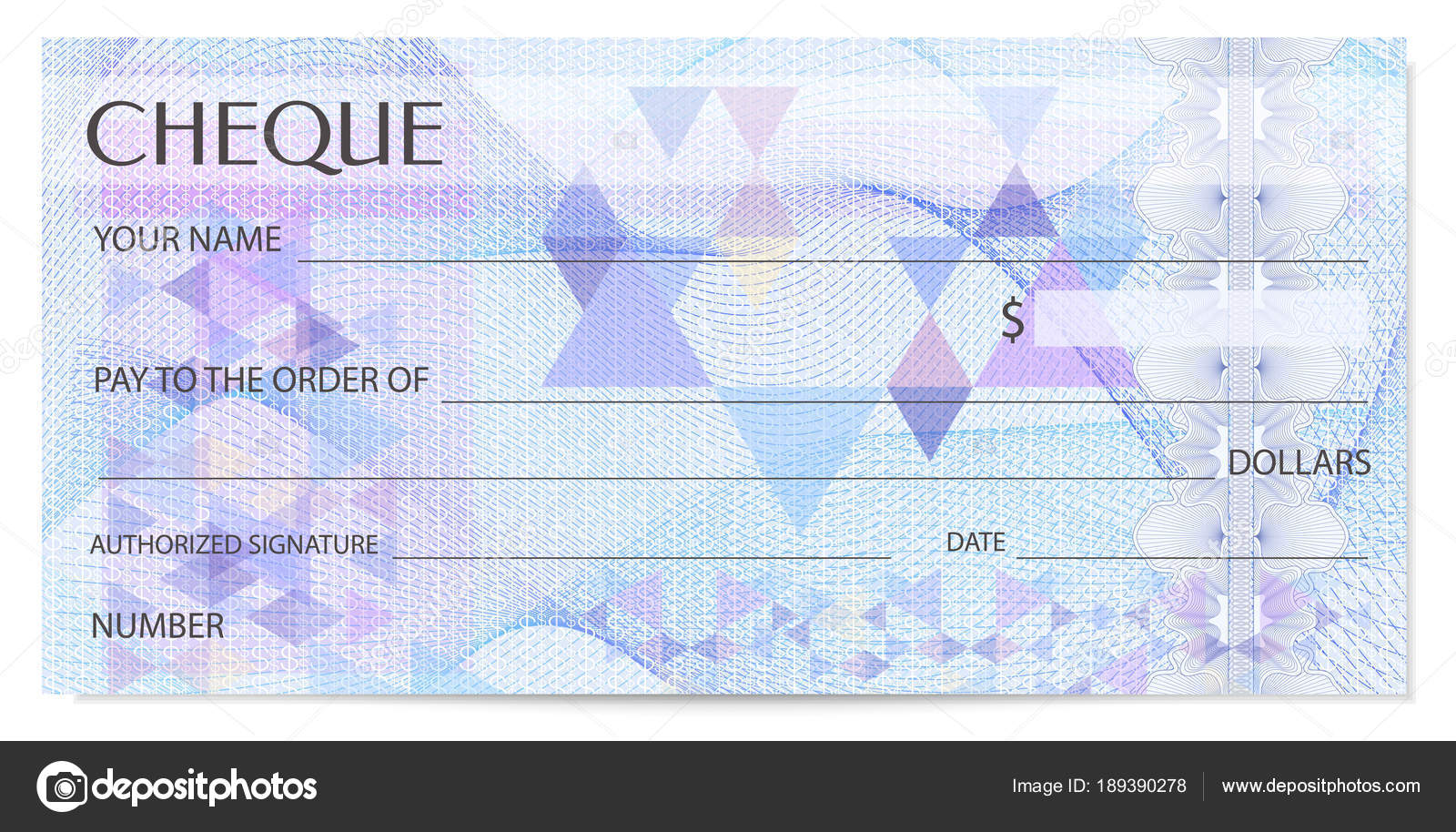 Check Cheque Chequebook Template Guilloche Pattern Abstract ...