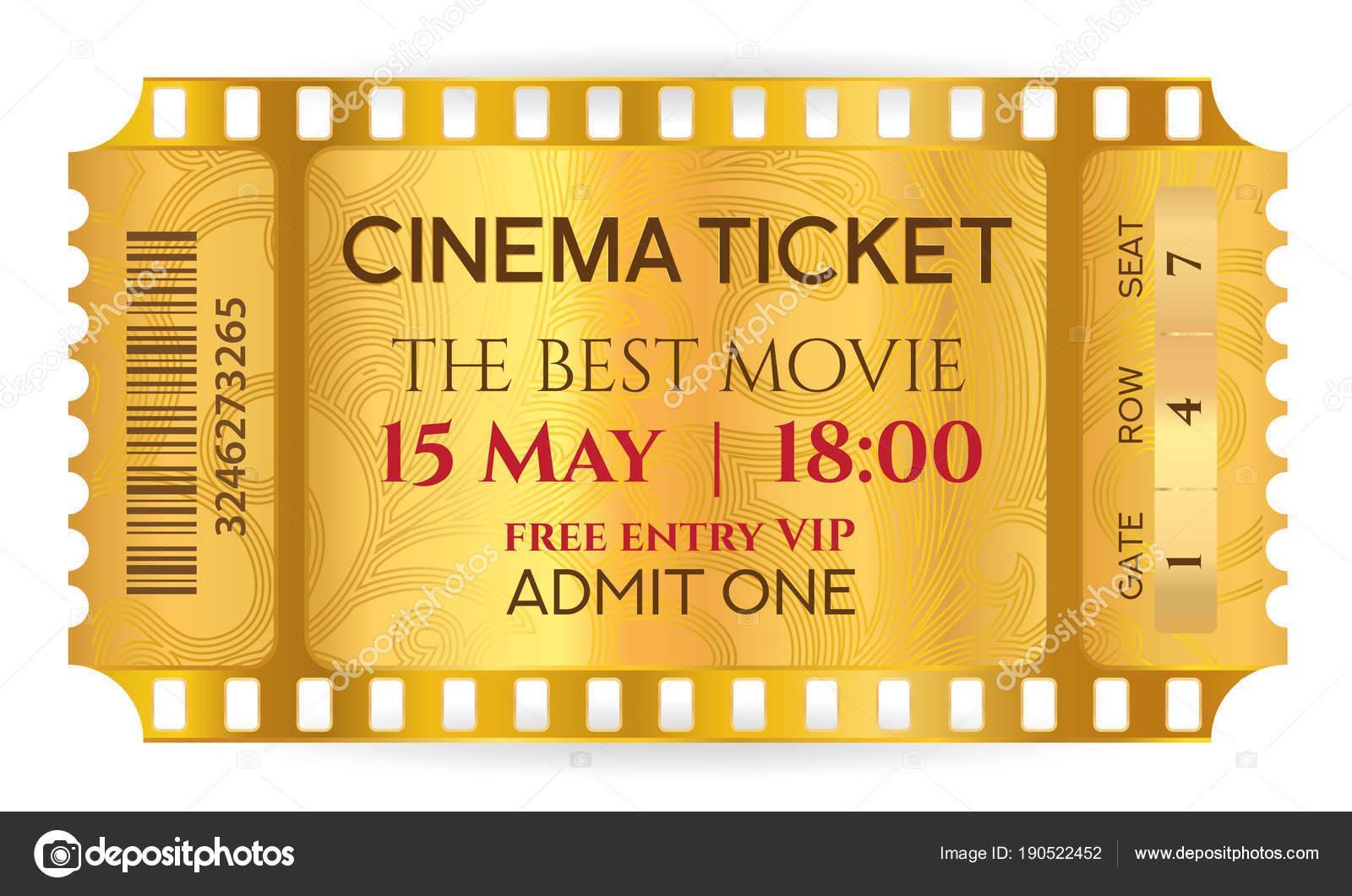 Cinema Ticket Golden Ticket Token Template Tear Ticket