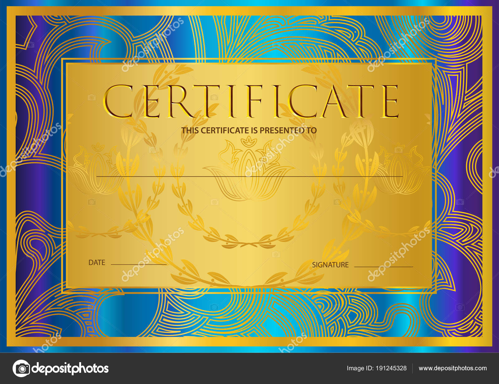 Certificate Diploma Golden Design Template Colorful Background Within Scroll Certificate Templates