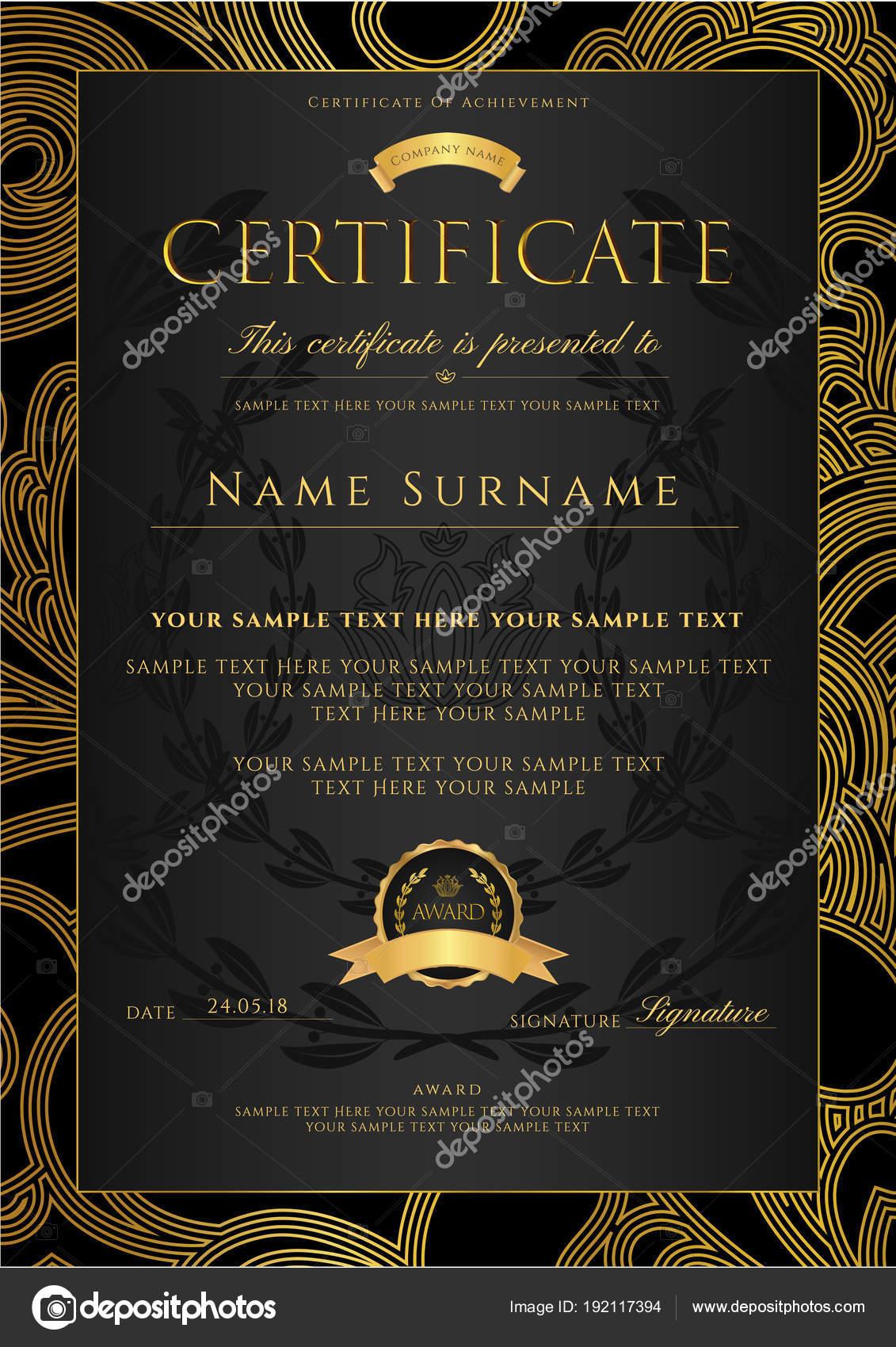 Zertifikat Diplom Goldene Design Vorlage Bunten Hintergrund Mit ...