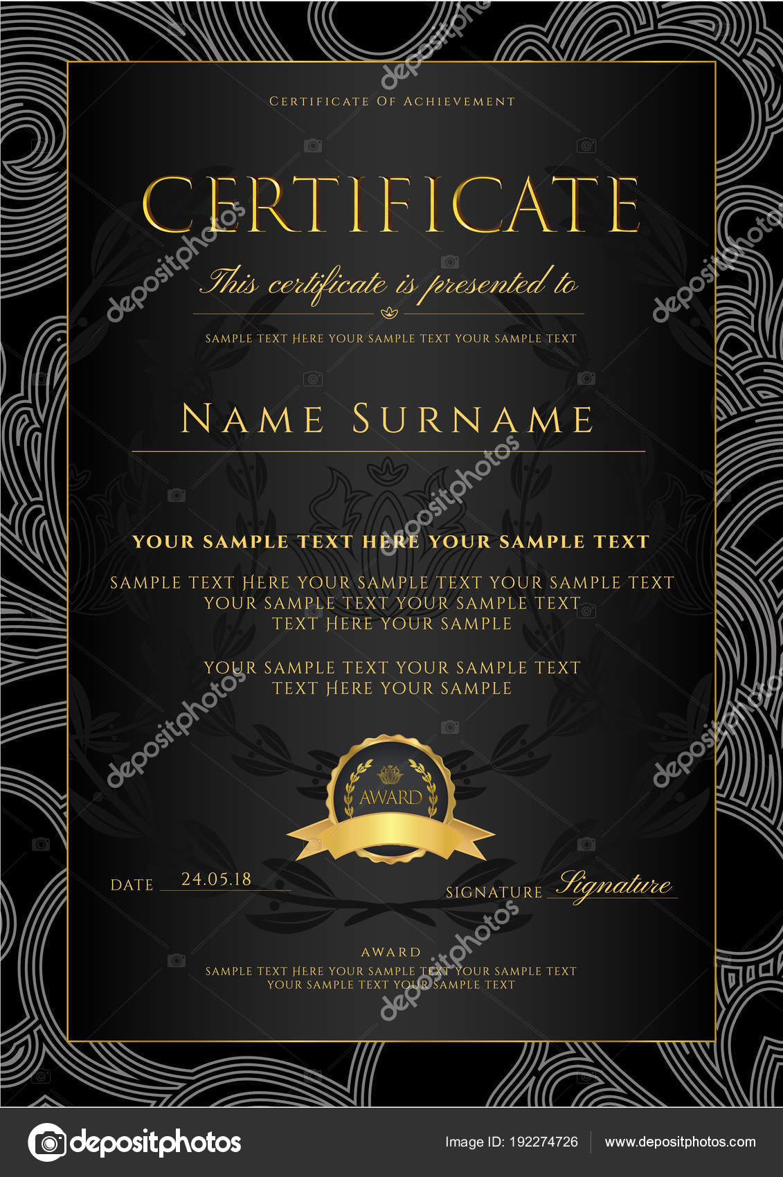 Certificate Diploma Golden Design Template Background Floral Intended For Scroll Certificate Templates