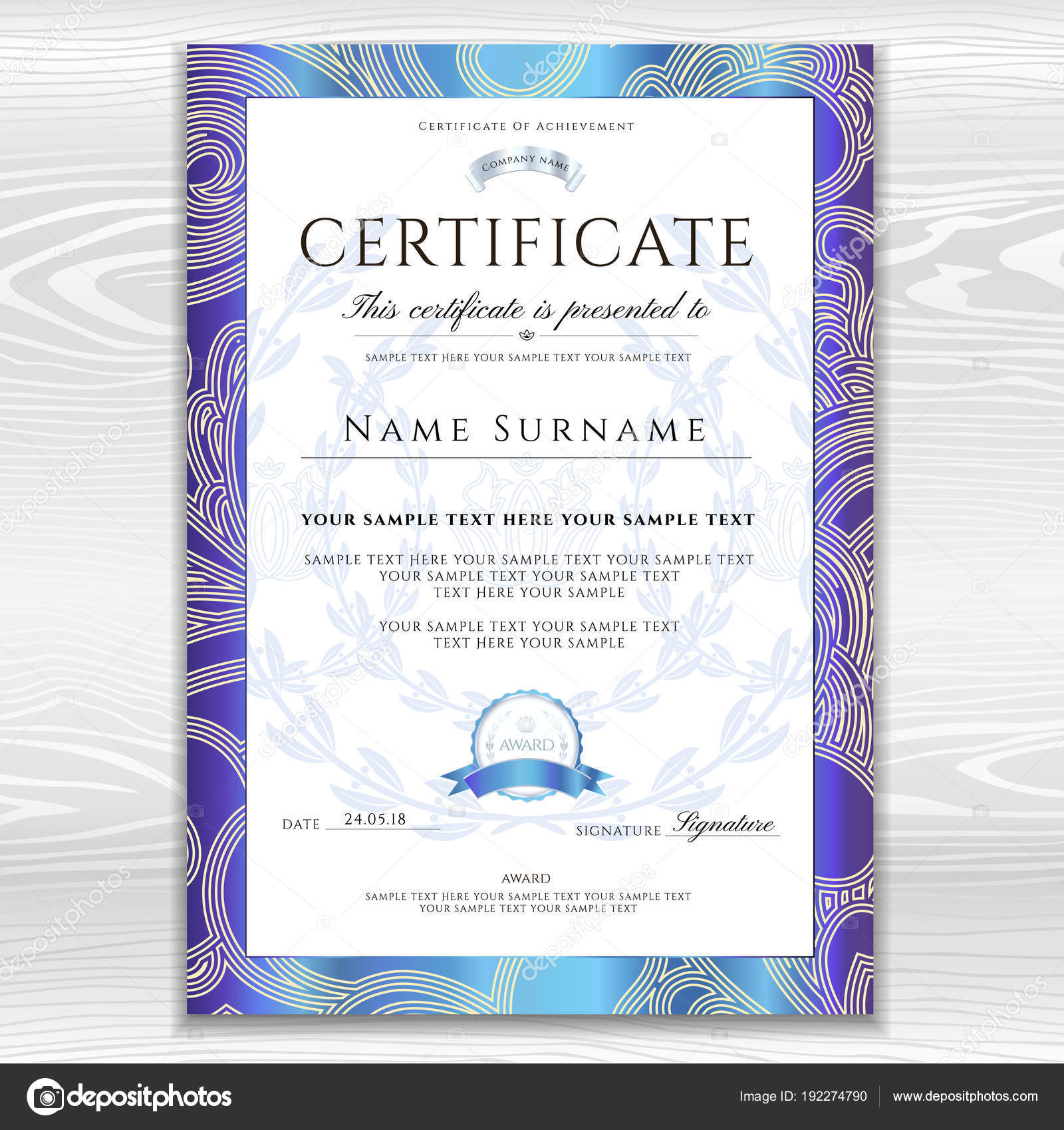certificate diploma golden design template background floral